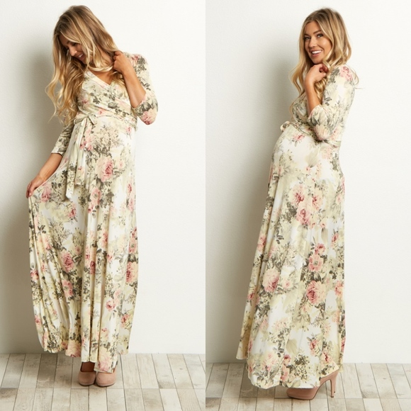 f2bd47a74aa PINKBLUSH Maternity Ivory Floral Wrap Maxi Dress. M 5bbbad679fe4860194308ac0